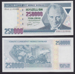 Turkey 250000 Liras intro:1998 , P211 / B286a