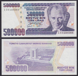 Turkey 500000 Liras intro:1997 , P212 / B288a