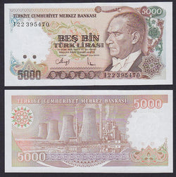 Turkey 5000 Liras intro:1990 , P198 / B275a