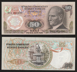 banknote of Turkey 50 Lira in UNC condition