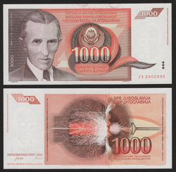 banknote of Yugoslavia 1000 Dinara in AU condition