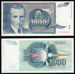 banknote of Yugoslavia 1000 Dinara in UNC condition