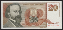 banknote of Yugoslavia 20 Novih Dinara in UNC condition