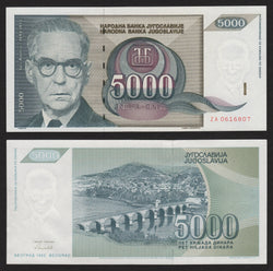 banknote of Yugoslavia 5000 Dinara in AU condition