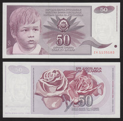banknote of Yugoslavia 50 Dinara in UNC condition