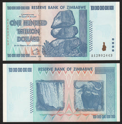 banknote of Zimbabwe 100000000000000 Dollars in UNC condition