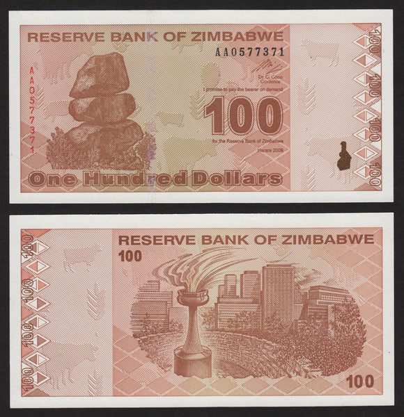 banknote of Zimbabwe 100 Dollars in UNC condition