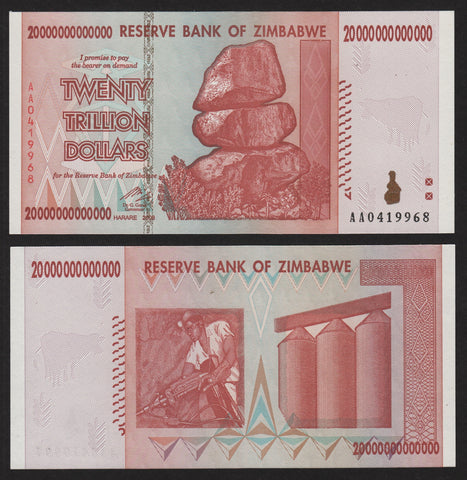 banknote of Zimbabwe 20000000000000 Dollars in UNC condition