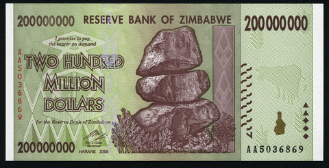 banknote of Zimbabwe 200000000 Dollars in UNC condition