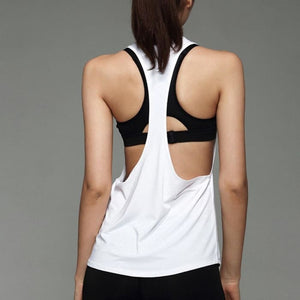 Loose Low V Neck Racerback Vest - White / S