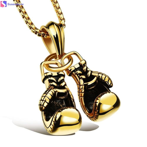 Mens Stainless Steel Pendant Boxing Gloves
