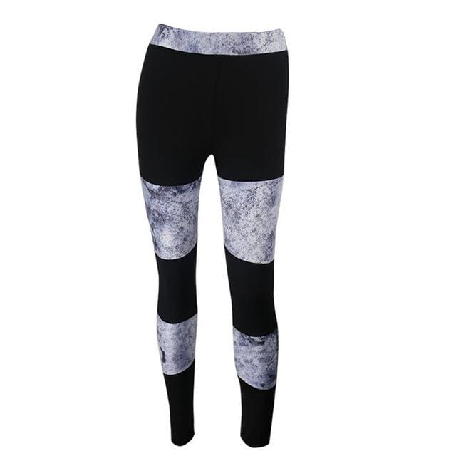 Patchwork Yoga Fitness Leggings - Black / S
