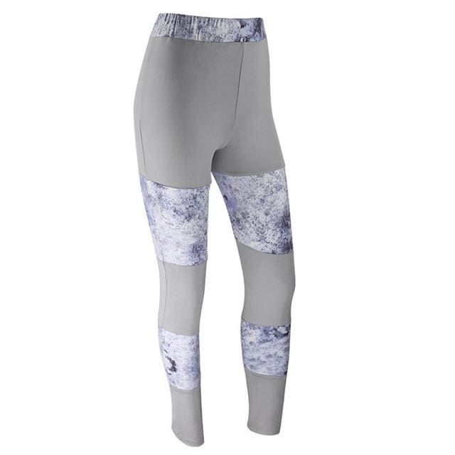 Patchwork Yoga Fitness Leggings - Gray / S