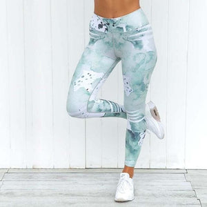 Pink Printed Yoga Pant Leggings - Green / S