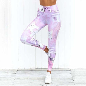 Pink Printed Yoga Pant Leggings - Pink / S