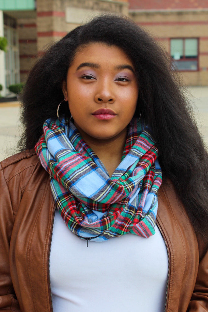 Light Blue, Red, Green Plaid Infinity Scarf I The Enchanted Magnolia