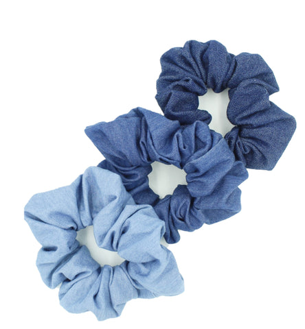 Girls 3 Blue Denim Hair Scrunchies Bundle - The Enchanted Magnolia