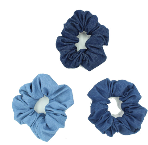 Girls Blue Denim Hair Scrunchies - The Enchanted Magnolia