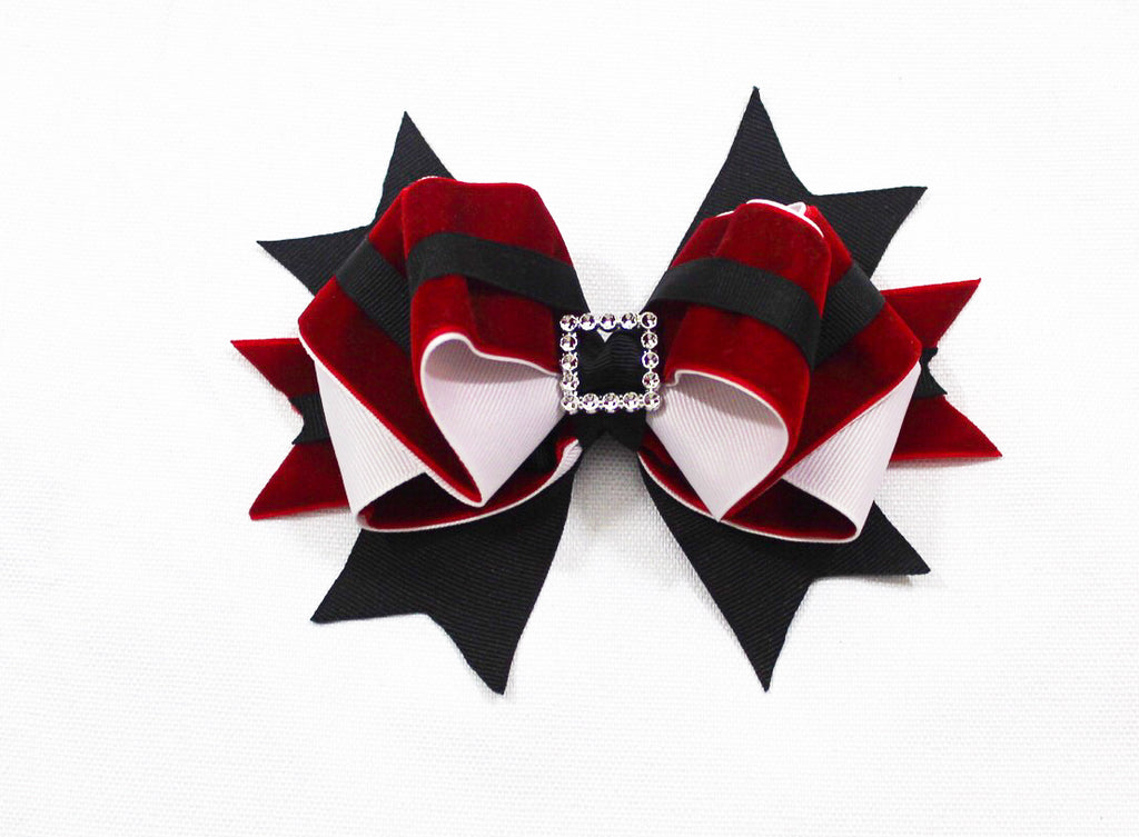 Christmas Santa Layered Hair Bow I The Enchanted Magnolia