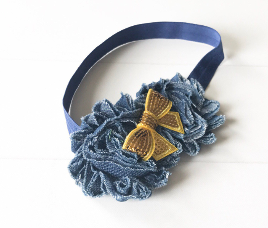 Girls Denim Headband with Sequin Bow I Blue / Gold I The Enchanted Magnolia