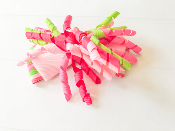 Girls Striped Hair Bow I Pink / Green I The Enchanted Magnolia