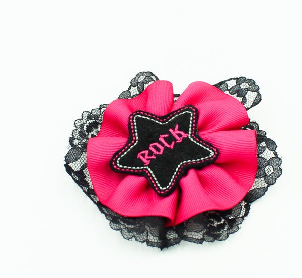 Black Lace Rock Star Hair Bow I The Enchanted Magnolia