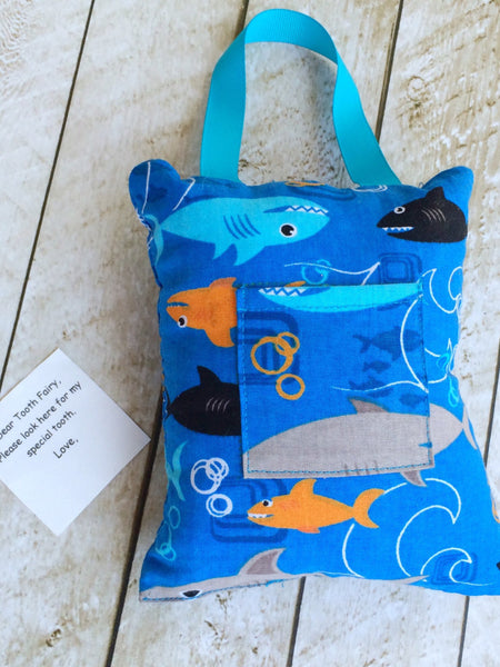 Tooth Fairy Pillow and Money Holder Shark Print I Magnolia's Mommy N' Me