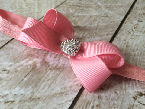 Girls Jewel Heart Pink Hair Bow Headband I The Enchanted Magnolia