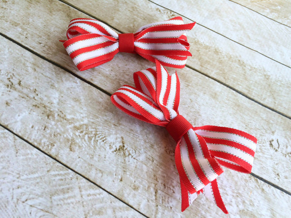 Girls Red and White Ponytail Bows I The Enchanted Magnolia