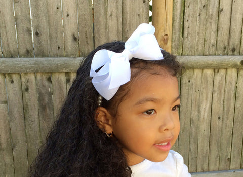 Girl White Hair Bow Pearl Headband I The Enchanted Magnolia