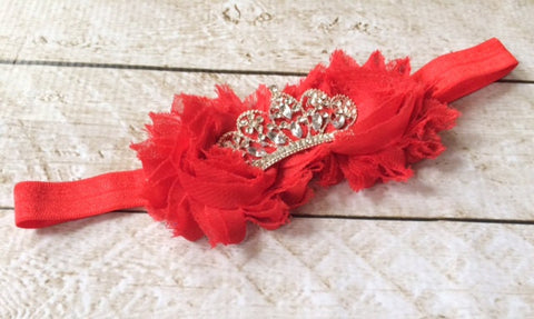 Girl Red Flower Princess Tiara Headband I The Enchanted Magnolia