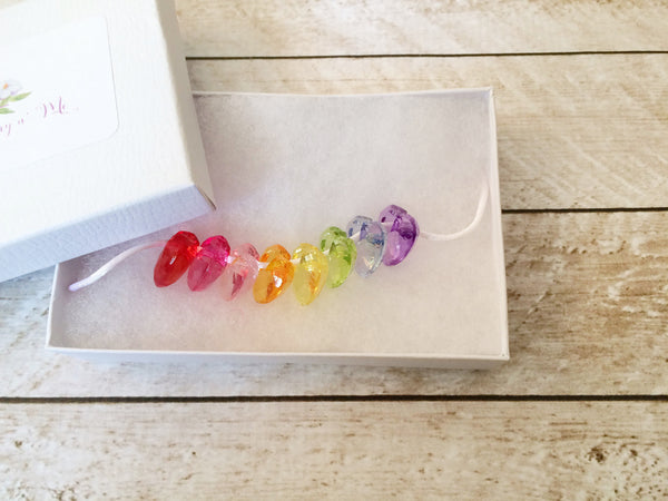 Little Girls Rainbow Heart Charm Breakaway Necklace I The Enchanted Magnolia
