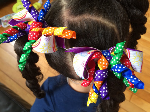 Little Girls Rainbow Hair Bow Set I The Enchanted Magnolia