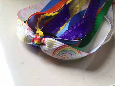 Rainbow Hair Ponytail Ribbon Streamers - The Enchanted Magnolia