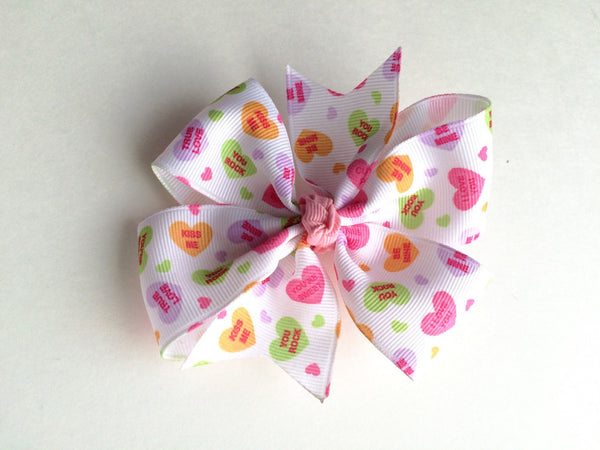 Girls White Valentine Candy Heart Pinwheel Hair Bow I The Enchanted Magnolia