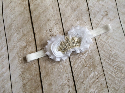 Girls Flower Tiara Headband I White