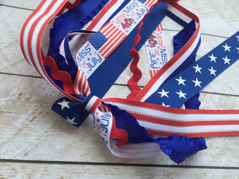 Girls Patriotic Ponytail Streamers I The Enchanted Magnolia