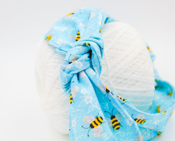 Light Blue Bumblebee Top Knot Headband Magnolia's Mommy n' Me 1