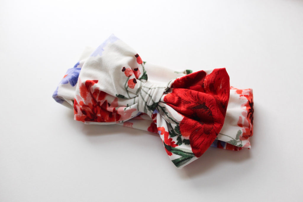 Floral Hair Bow Fabric Headband I The Enchanted Magnolia