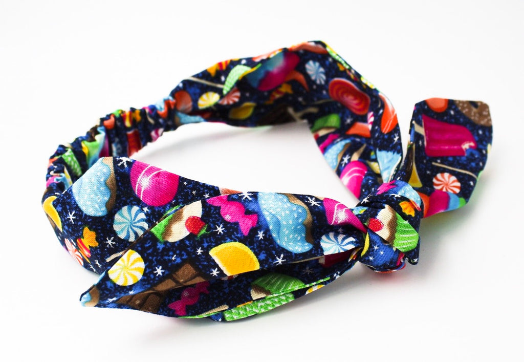 Sweet Treat Galaxy on Navy Top Knot Headband -The Enchanted Magnolia