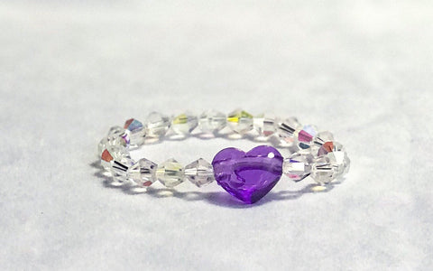 Purple Heart and Sparkling Beaded Elastic Bracelet Image 1