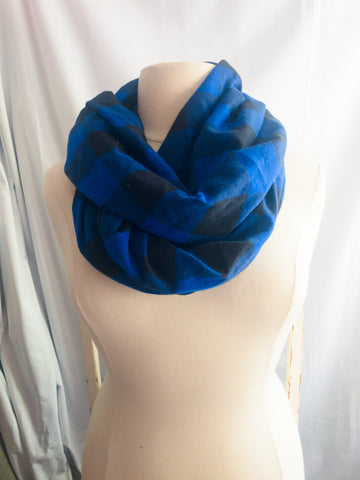 Olympian Blue and Black Buffalo Check Infinity Scarf I The Enchanted Magnolia
