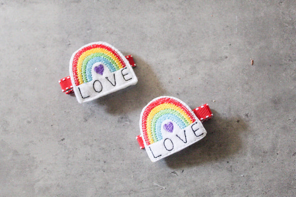 Rainbow Love Barrette Clips - The Enchanted Magnolia