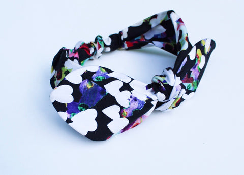 Watercolor White Heart Print On Black Top Knot Headband - The Enchanted Magnolia