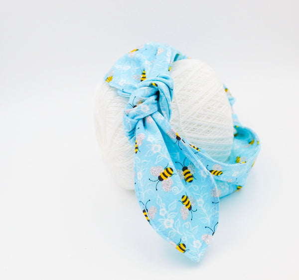 Light Blue Bumblebee Top Knot Headband Magnolia's Mommy n' Me 9