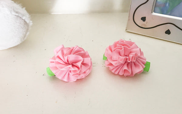 Baby Girl Ribbon Flower Hair Clips I The Enchanted Magnolia