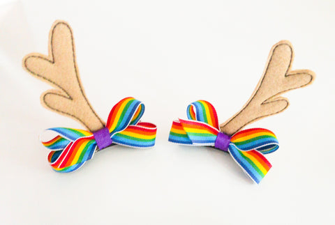 Rainbow Woodland Deer Antler Hair Clips I The Enchanted Magnolia