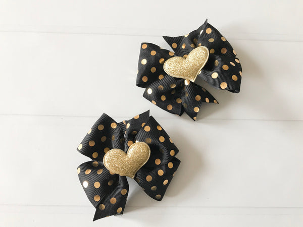 Black and Gold Polka Dots Mini Pinwheel Hair Bow Set I The Enchanted Magnolia