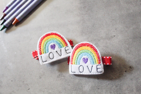 Rainbow Love Barrette Clips I The Enchanted Magnolia