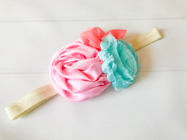 Girls Mermaid Inspired Flower Headband Blue / Pink / Coral / Ivory I The Enchanted Magnolia